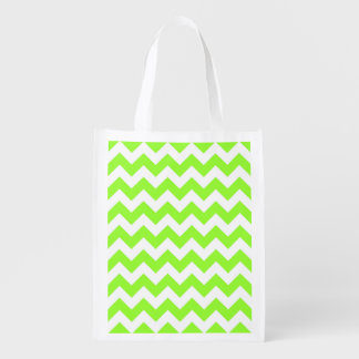 Customizable White Zigzag Pattern Grocery Bags