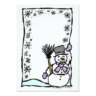 Customizable Winter Holiday Snowman Kids Party Card