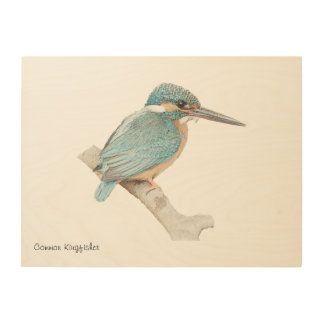 Customizable wood art with common kingfisher print