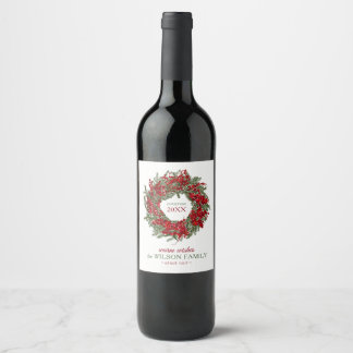 Customizable Wreath Holiday Wine Labels
