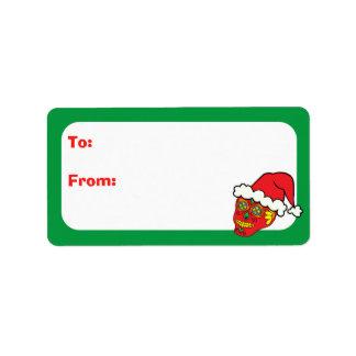 Customizable Xmas Santa Sugar Skulls Label