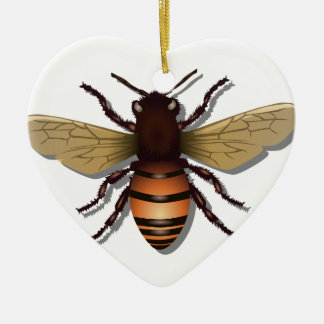 Customizable Yellow Bumble Bee Ceramic Ornament