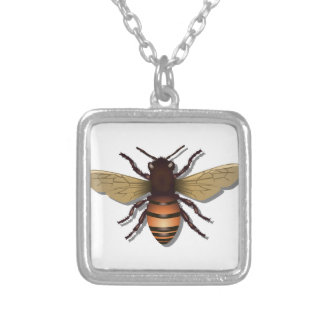 Customizable Yellow Bumble Bee Silver Plated Necklace