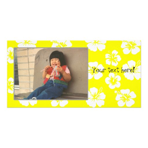 Customizable Yellow Hibiscus Photocard Photo Card