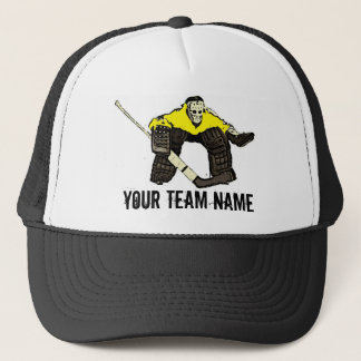 Customizable yellow hockey goalie team name hat