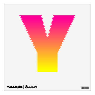 Customizable Yellow Ombre Letter Y Wall Sticker