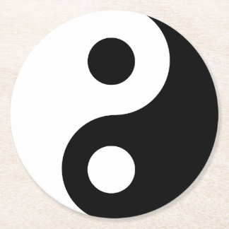 Customizable Yin Yang Symbol Round Paper Coaster