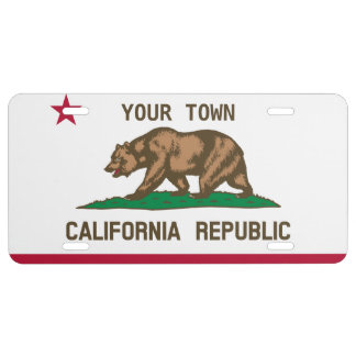 Customizable 'Your Town' California Flag License Plate