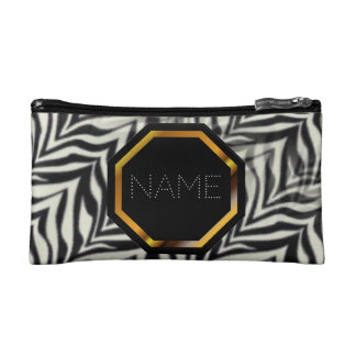 Customizable Zebra Print Cosmetics Bag