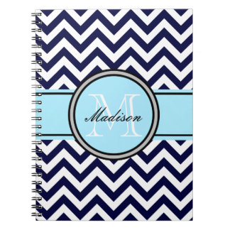 Customizable Zigzag Monogram Notebook in Navy