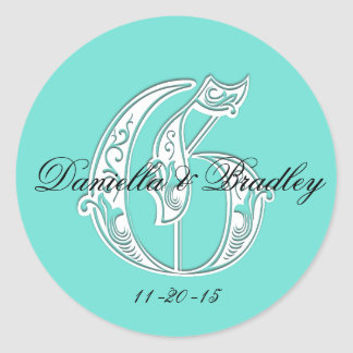 """Customizble Color - Letter """"G"""" Wedding Classic Round Sticker"""