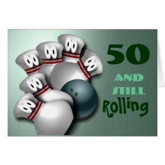 Customize Age  bowling Birthday Card