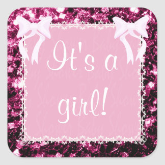 Customize Baby Girl Shower pink sparkles Square Sticker