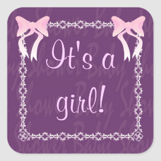 Customize Baby girl shower Purple square sticker
