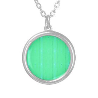 Customize Background Fluorescent Green Pattern Silver Plated Necklace