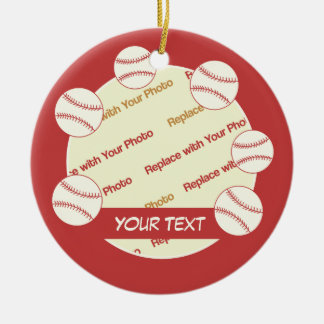 CUSTOMIZE Baseball -- Personalize Photo and Text Ceramic Ornament
