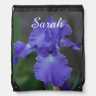 Customize Beautiful Blue Iris in Bloom Drawstring Bag