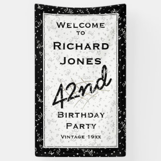 Customize Birthday Age - Black/White Over-the-hill Banner