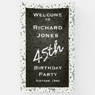 Customize Birthday Age - White/Black Over-the-hill Banner