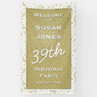 Customize Birthday Age - White/Gold Over-the-hill Banner