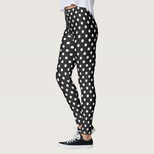 Customize Black And White Polka Dots Pattern Leggings