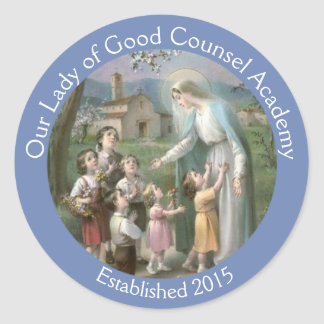 Customize Blessed Virgin Mary with Children Classic Round Sticker