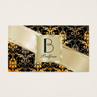 Customize both sides of Gold Damask Business Card
