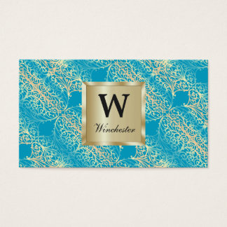 Customize both sides of Gold Filigree Business Card