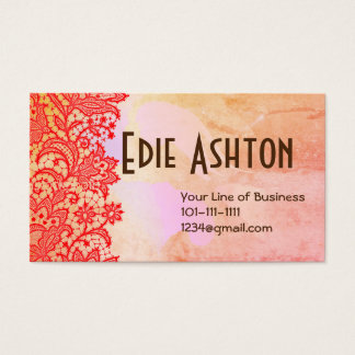 Customize both sides of Lace and Watercolor Business Card