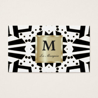 Customize both sides of Op Art and Gold Business Card