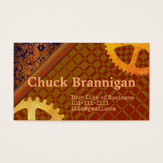 Customize both sides of Tan and Maroon with Gears Business Card