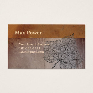 Customize both sides of this Warm Leather And Leaf Business Card