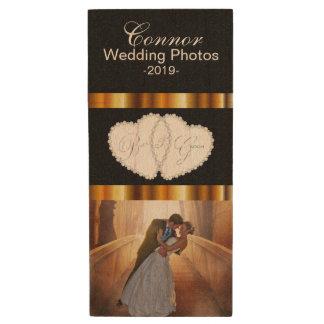Customize Bride and Groom Wedding Photo Design Wood USB 2.0 Flash Drive