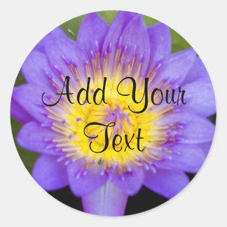 Customize Brilliant Blue Water Lily Bloom photo Round Sticker