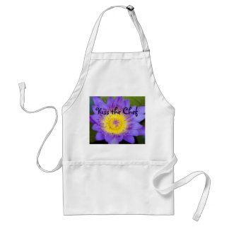 Customize Brilliant Blue Water Lily Bloom photo Standard Apron