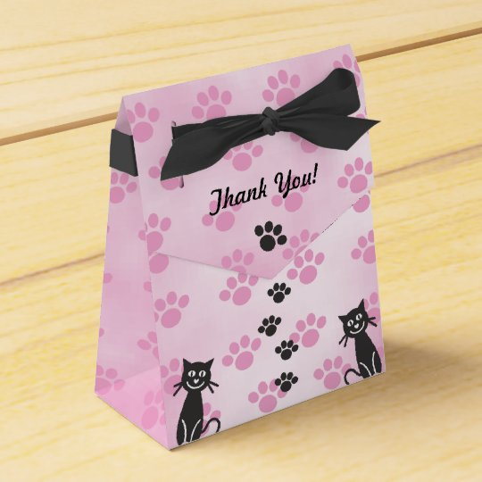 Customize Cat Pink Black Paw Prints Favor Box