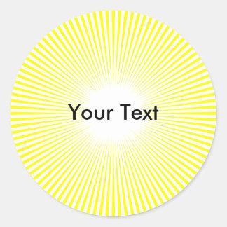 Customize Circle Sun Rays Yellow Sticker