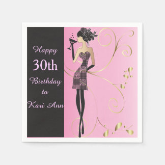 Customize Classy Birthday for Her Paper Napkin