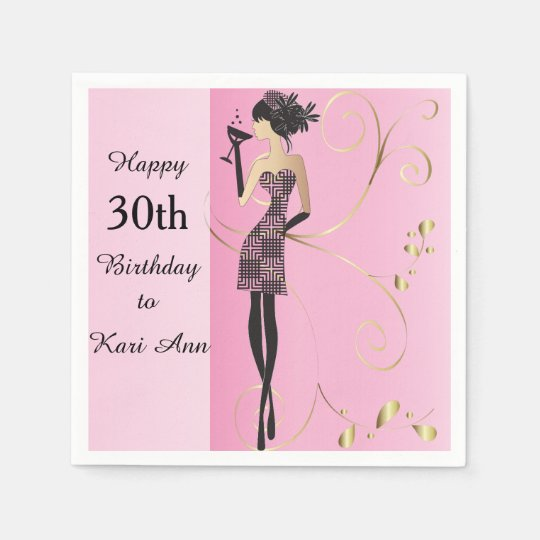 Customize Classy Birthday Napkins for Her Paper Napkin