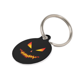 Customize Cool scary Jack O'Lantern face Halloween Pet ID Tag