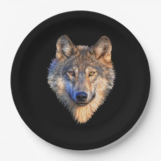 Customize Cool Wolf Head Party Paper Plate