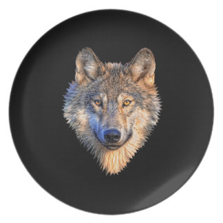 Customize Cool Wolf Head Party Plate