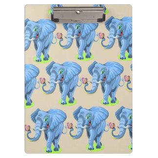 Customize Cute Blue Elephant Clipboard for Kids