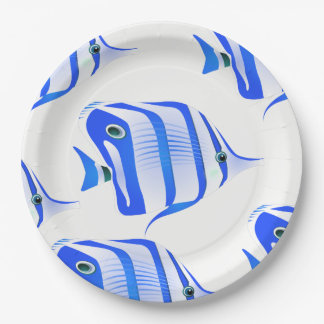 Customize Cute Blue Fishes Party Paper Plate