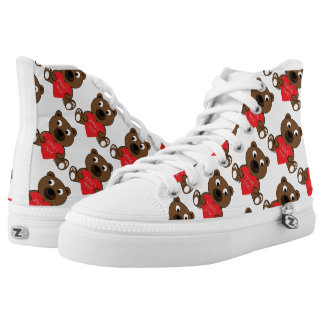 Customize Cute Brown Bear Heart I love You pattern High Tops