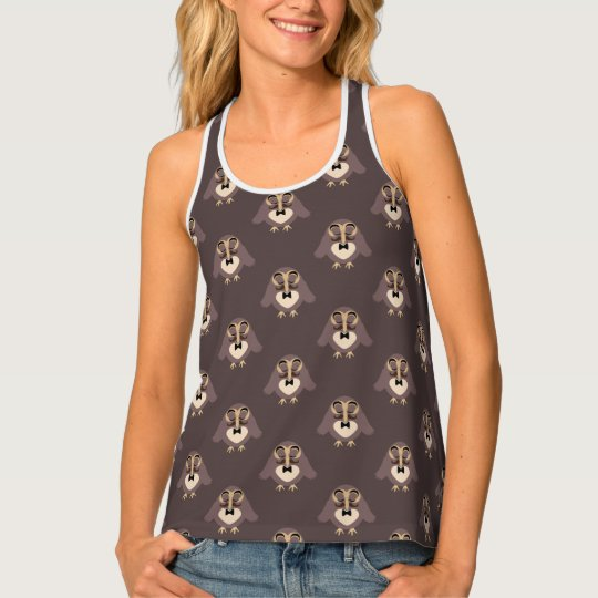 Customize Cute Brown owl with Moustache pattern Tank Top