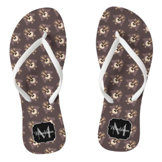Customize Cute Brown owl with Mustache pattern Flip Flops
