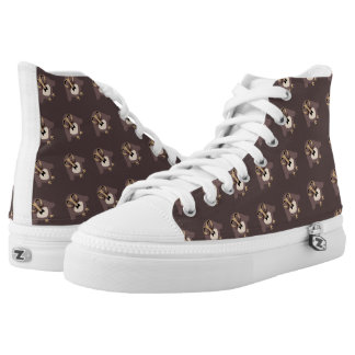Customize Cute Brown owl with Mustache pattern High Tops