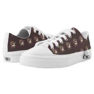 Customize Cute Brown owl with Mustache pattern Low-Top Sneakers