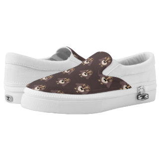 Customize Cute Brown owl with Mustache pattern Slip-On Sneakers